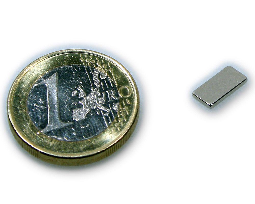 Quadermagnet 10,0 x 5,0 x 1,0 mm Neodym N45 vernickelt - hält 600 g