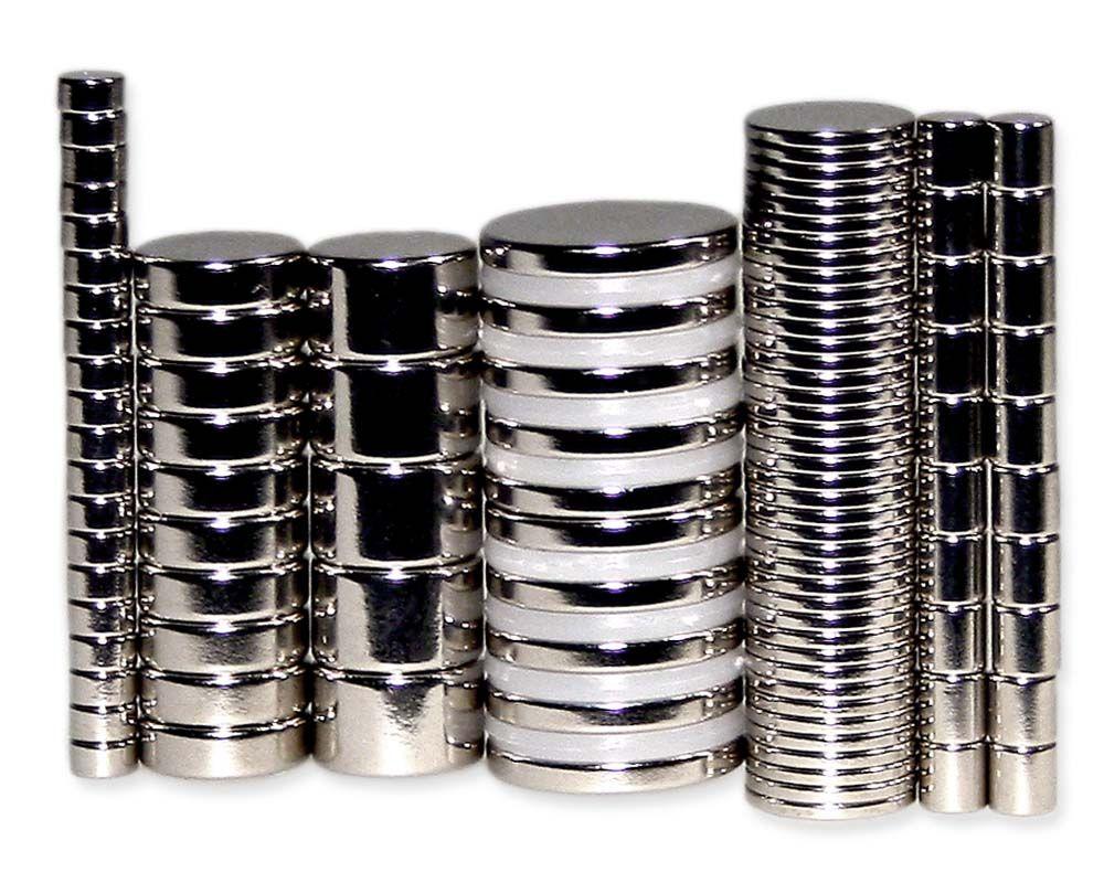 Kleines Neodym Scheibenmagnete Set für Bastler (105 Magnete)
