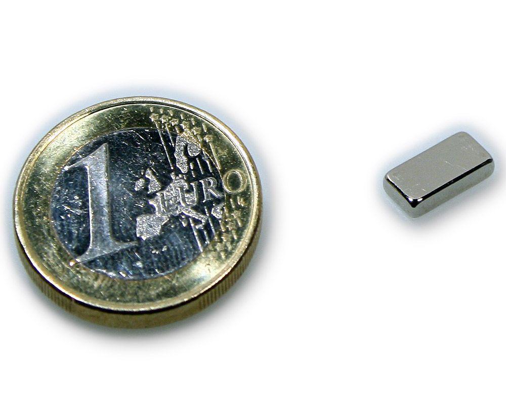 Quadermagnet 10,0 x 5,0 x 2,0 mm Neodym N45 vernickelt - hält 1,2 kg