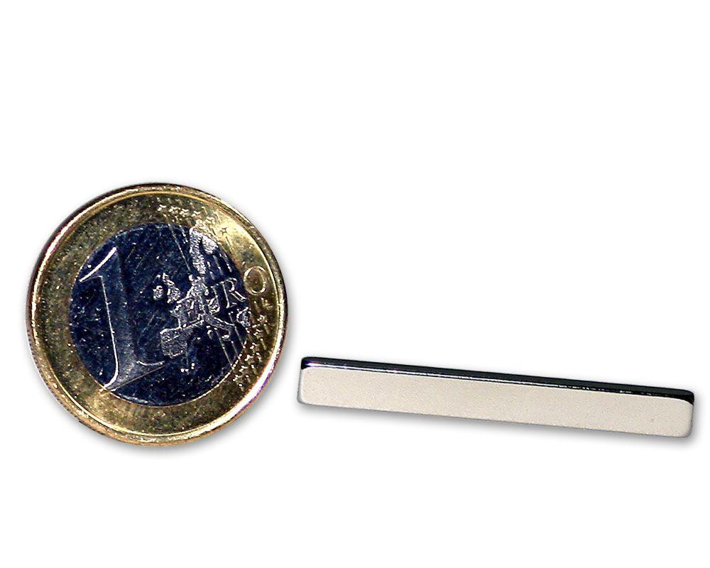 Quadermagnet 35,0 x 4,0 x 2,0 mm Neodym N45 vernickelt - hält 2,0 kg