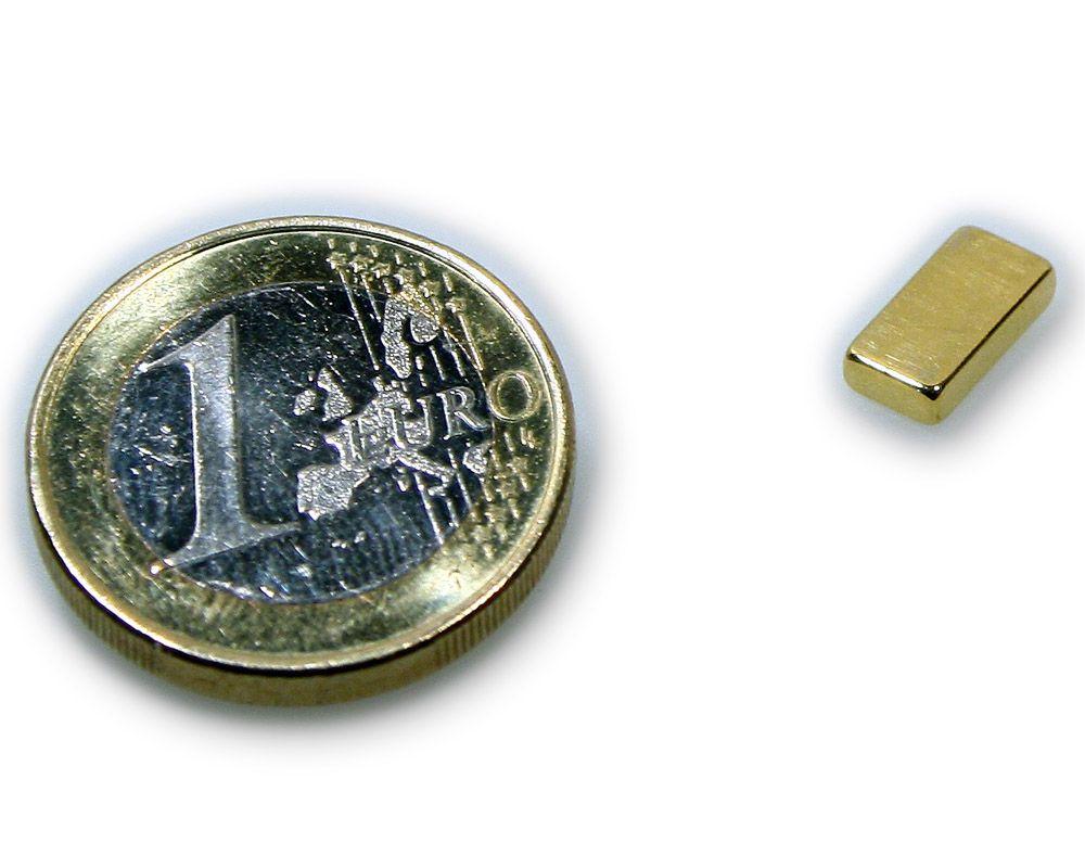Quadermagnet 10,0 x 5,0 x 2,0 mm Neodym N45 vergoldet - hält 1,2 kg