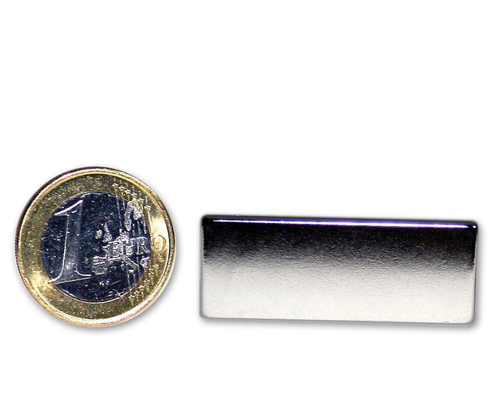 Quadermagnet 40,0 x 15,0 x 3,0 mm Neodym N45 vernickelt - hält 6,0 kg