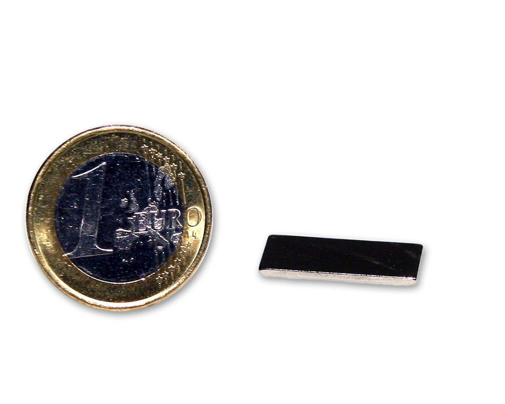 Quadermagnet 20,0 x 10,0 x 1,0 mm Neodym N45 vernickelt - hält 1,0 kg
