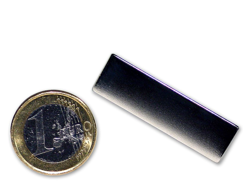 Quadermagnet 40,0 x 12,0 x 1,0 mm Neodym N45 vernickelt - hält 1,2 kg