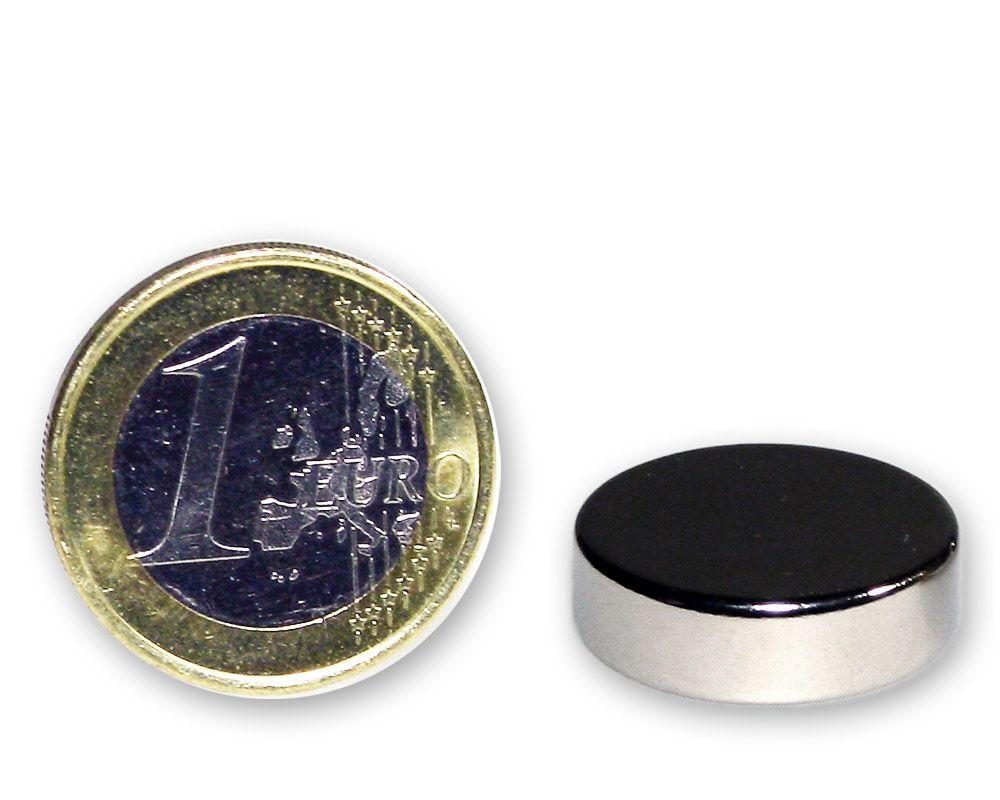 Scheibenmagnet Ø 20,0 x 6,0 mm Neodym N45 vernickelt - hält 8,0 kg