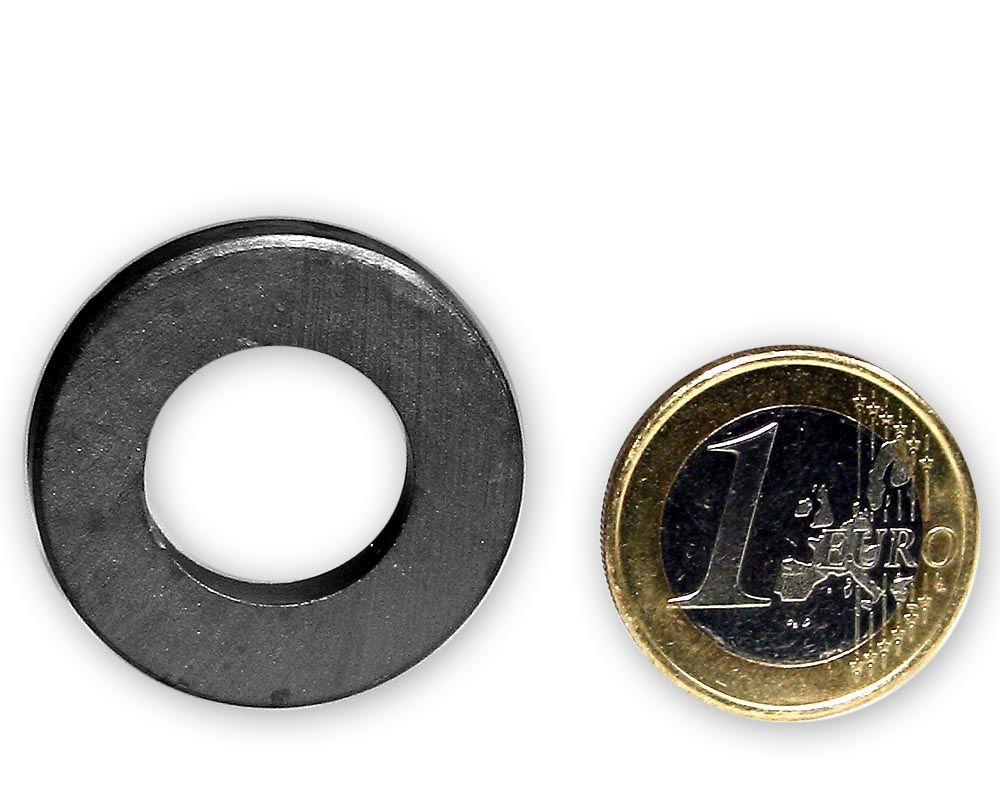 Ringmagnet Ø 30,0 x 16,0 x 5,0 mm Y35 Ferrit - hält 1,5 kg