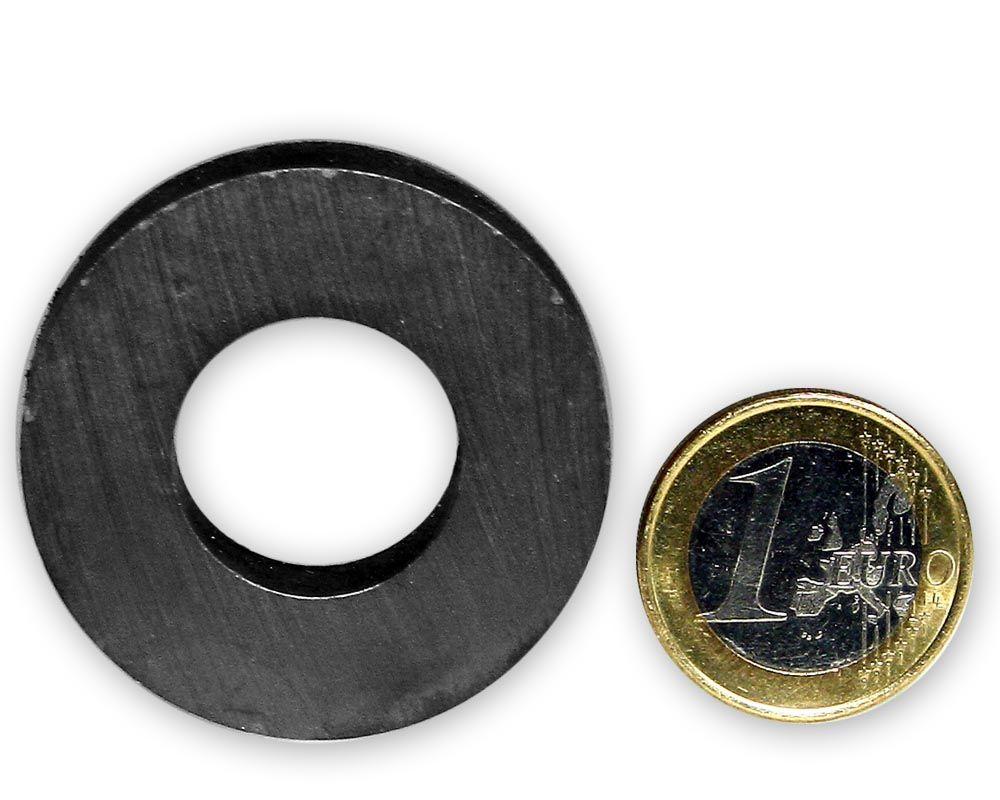 Ringmagnet Ø 40,0 x 20,0 x 8,0 mm Y35 Ferrit - hält 2,7 kg