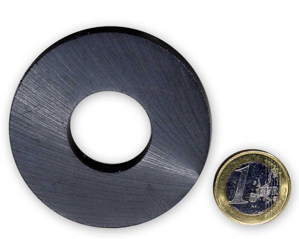 Ringmagnet Ø 60,0 x 25,0 x 10,0 mm Y35 Ferrit - hält 4,0 kg