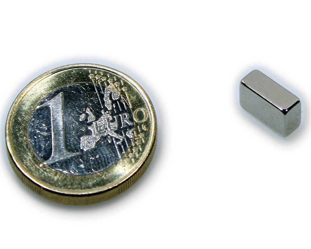 Quadermagnet 10,0 x 5,0 x 4,0 mm Neodym N45 vernickelt - hält 2,0 kg