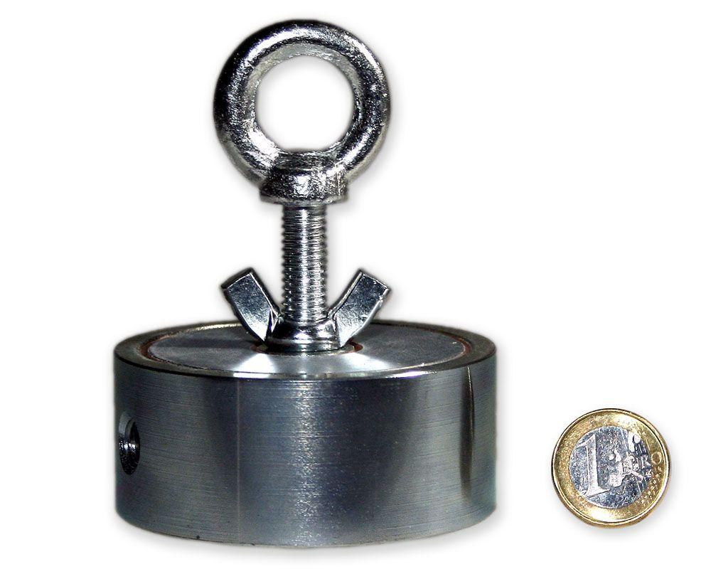 Suchmagnet / Bergemagnet mit 2 Ösen - 2 x 200 kg = 400 kg Haftkraft - 75 mm