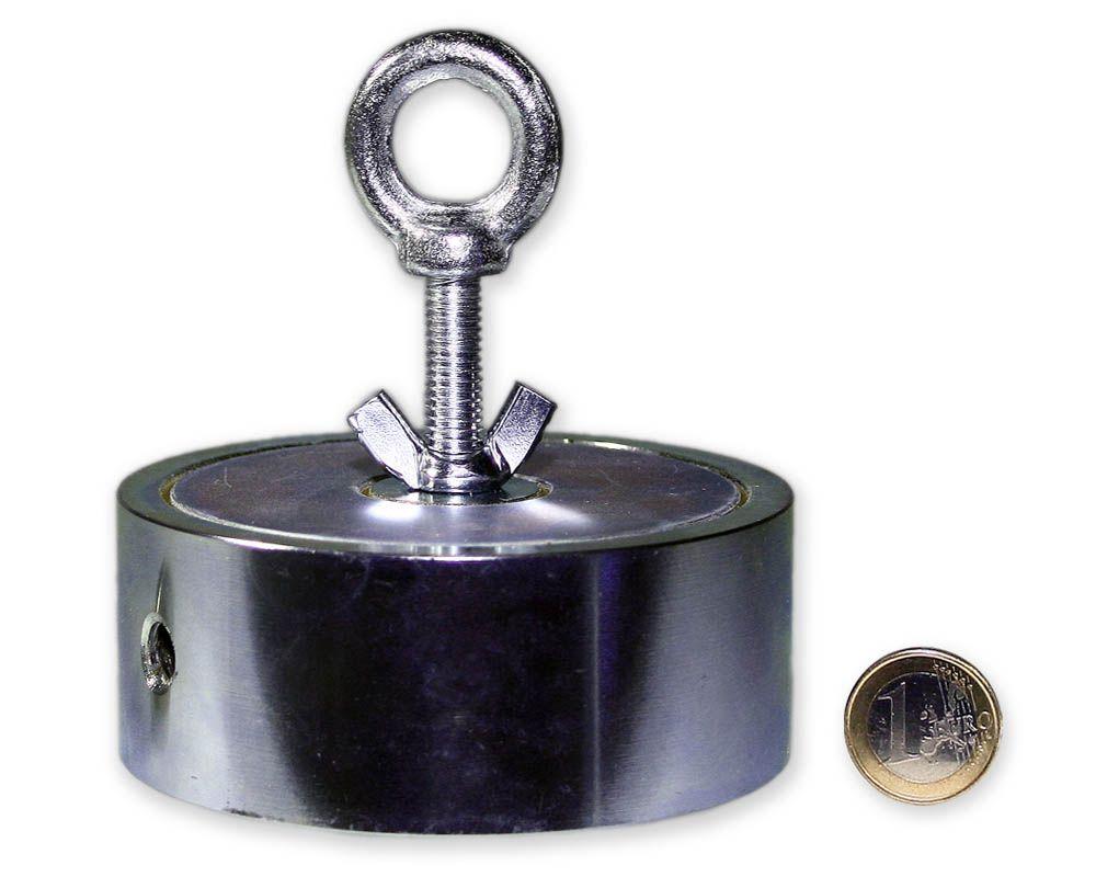 Suchmagnet / Bergemagnet mit 2 Ösen - 2 x 300 kg = 600 kg Haftkraft - 98 mm