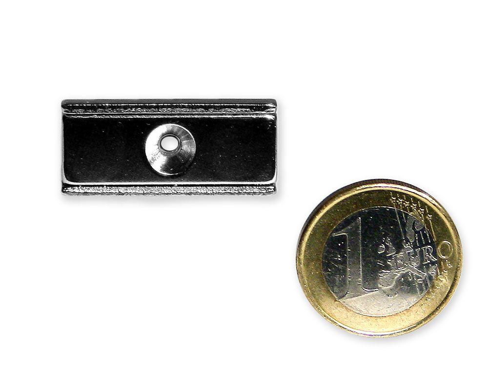 Neodym Flachleiste mit Bohrung und Senkung 30 x 13,5 x 5,0 mm hält 9,1 kg