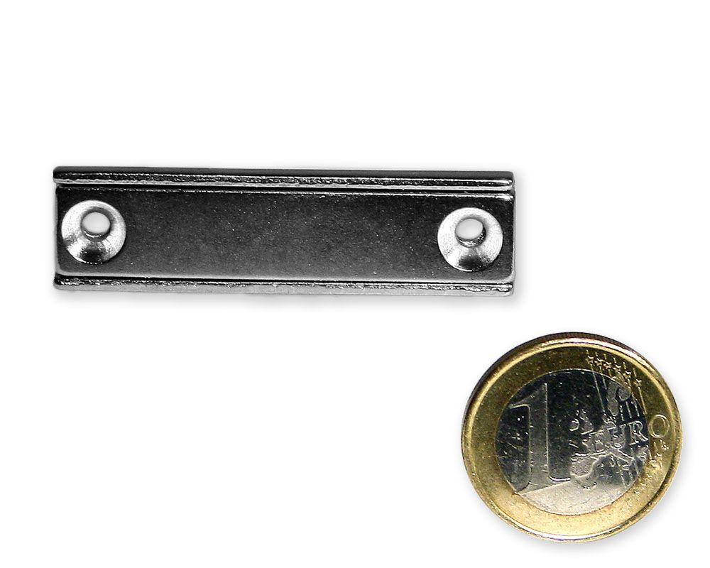 Neodym Flachleiste mit Bohrung und Senkung 50 x 13,5 x 5,0 mm hält 17 kg