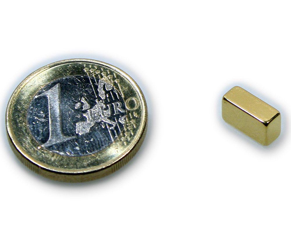 Quadermagnet 10,0 x 5,0 x 4,0 mm Neodym N45 vergoldet - hält 2,0 kg