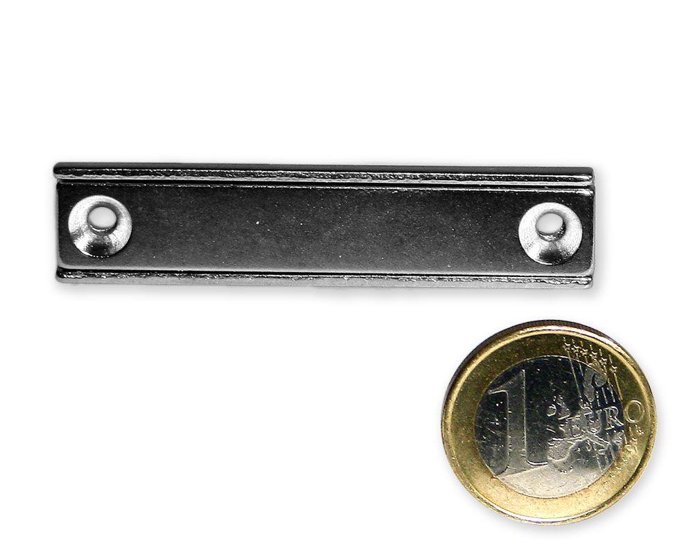 Neodym Flachleiste mit Bohrung und Senkung 60 x 13,5 x 5,0 mm hält 19,5 kg