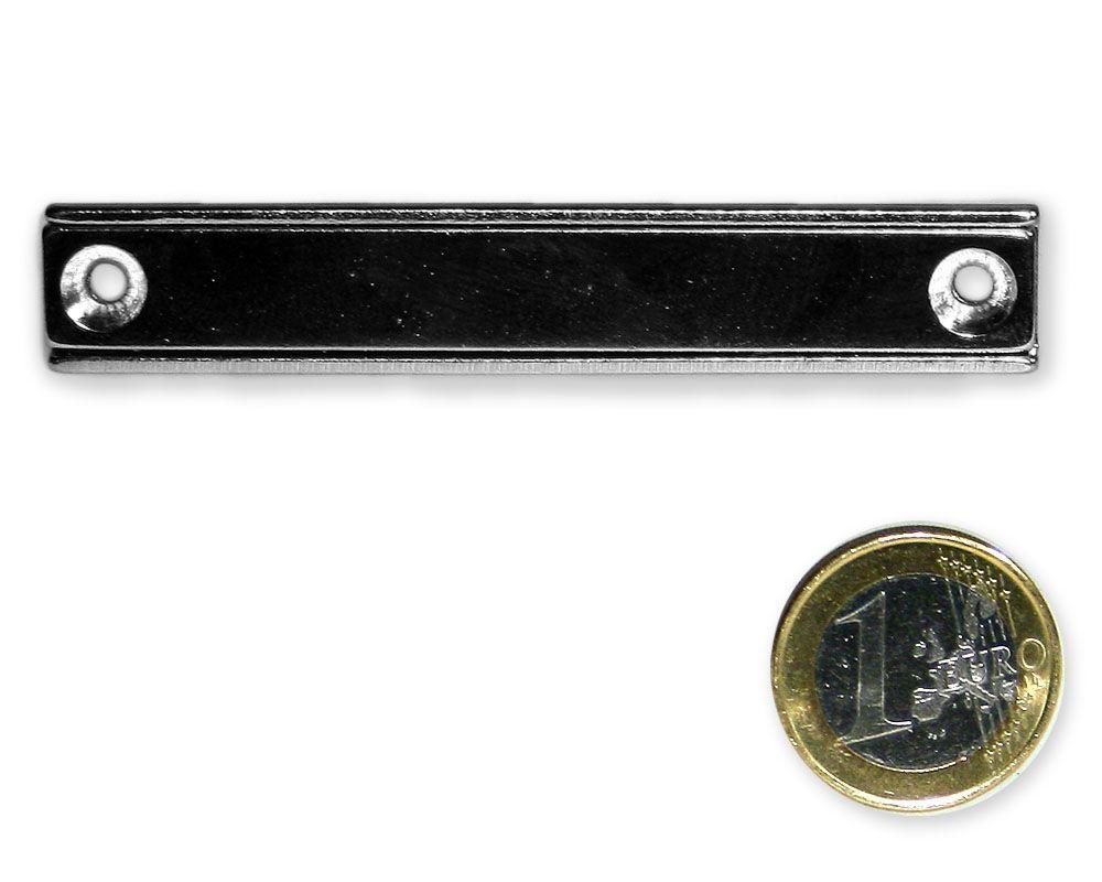 Neodym Flachleiste mit Bohrung und Senkung 80 x 13,5 x 5,0 mm hält 25 kg