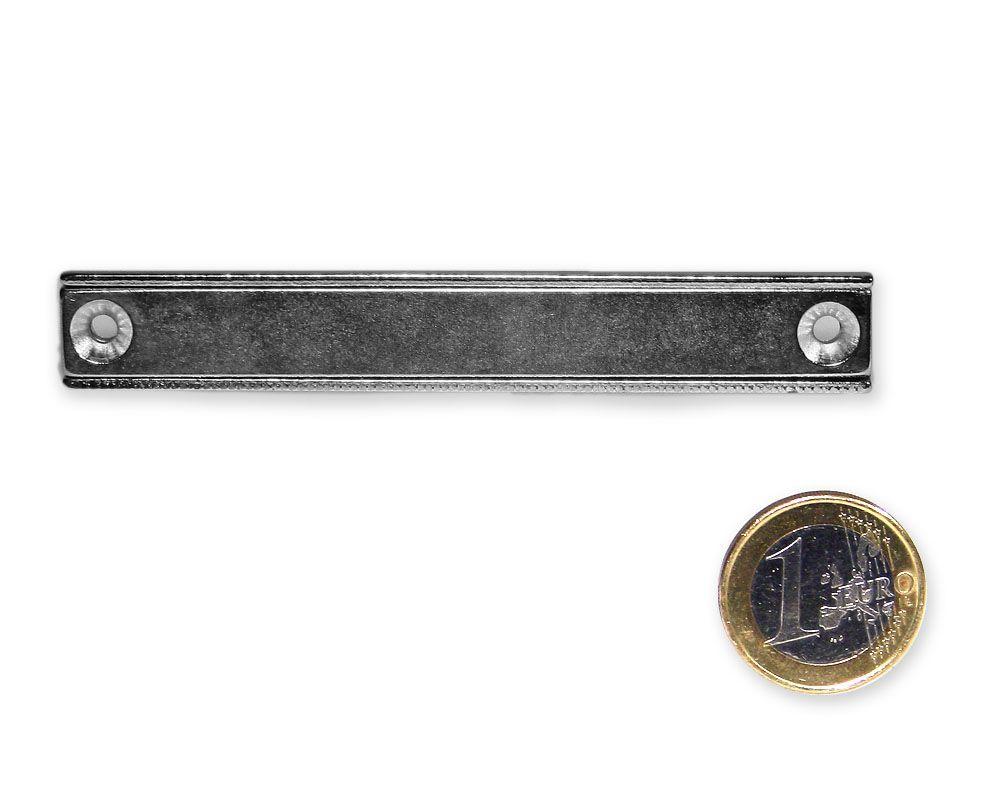 Neodym Flachleiste mit Bohrung und Senkung 90 x 13,5 x 5,0 mm hält 28 kg