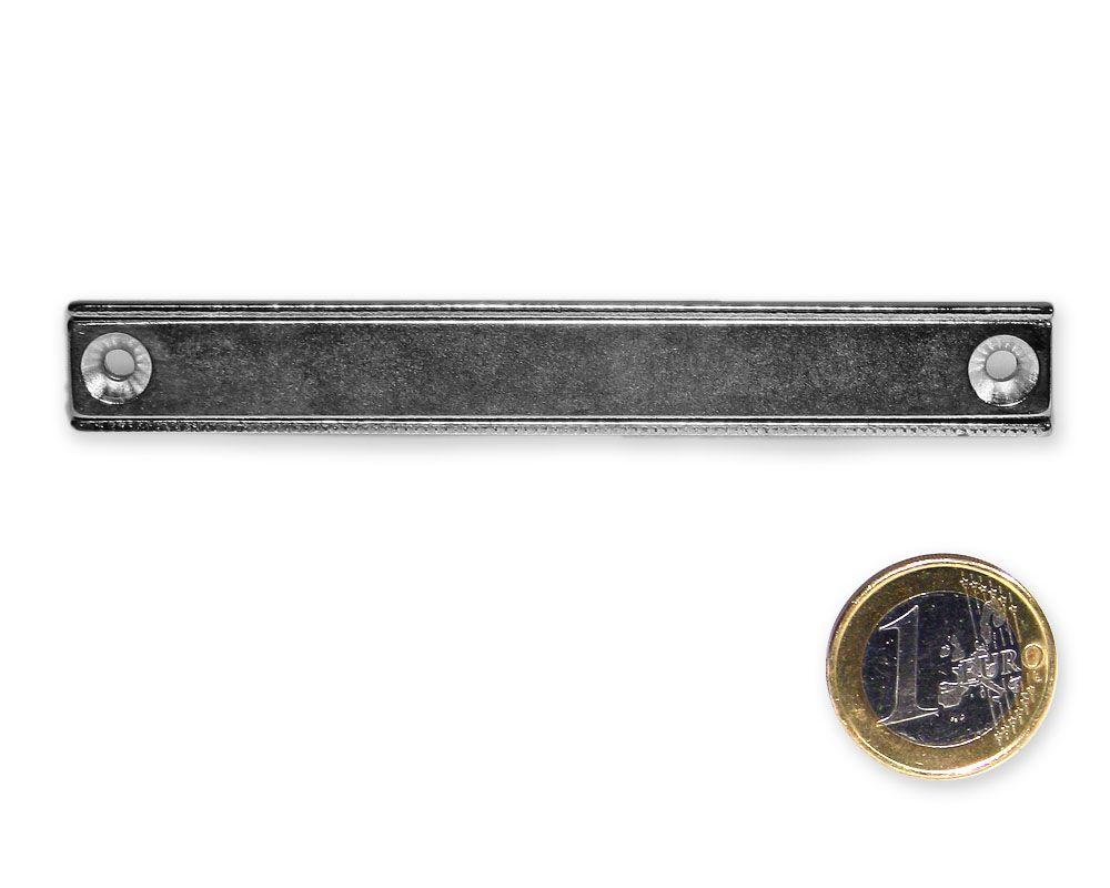 Neodym Flachleiste mit Bohrung und Senkung 100 x 13,5 x 5,0 mm hält 31 kg