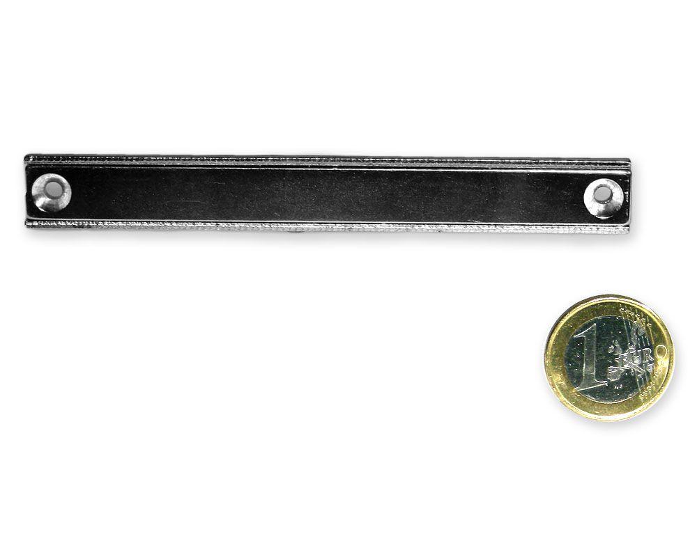 Neodym Flachleiste mit Bohrung und Senkung 110 x 13,5 x 5,0 mm hält 33 kg