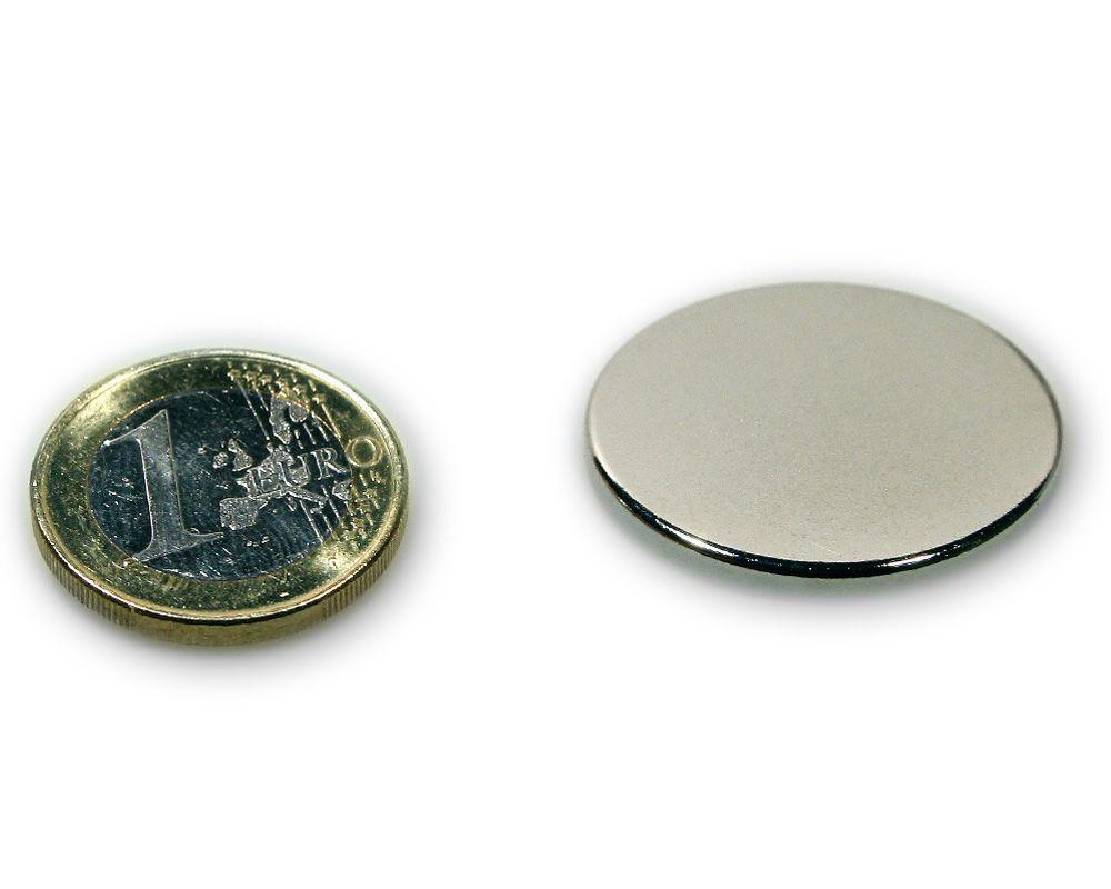 Scheibenmagnet Ø 30,0 x 2,0 mm Neodym N45 vernickelt - hält 4,9 kg