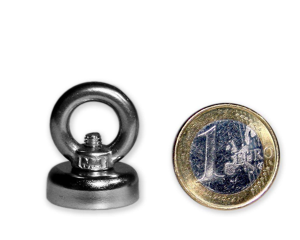 Ösenmagnet Ø 20 mm mit Neodym - verzinkt - hält 6 kg