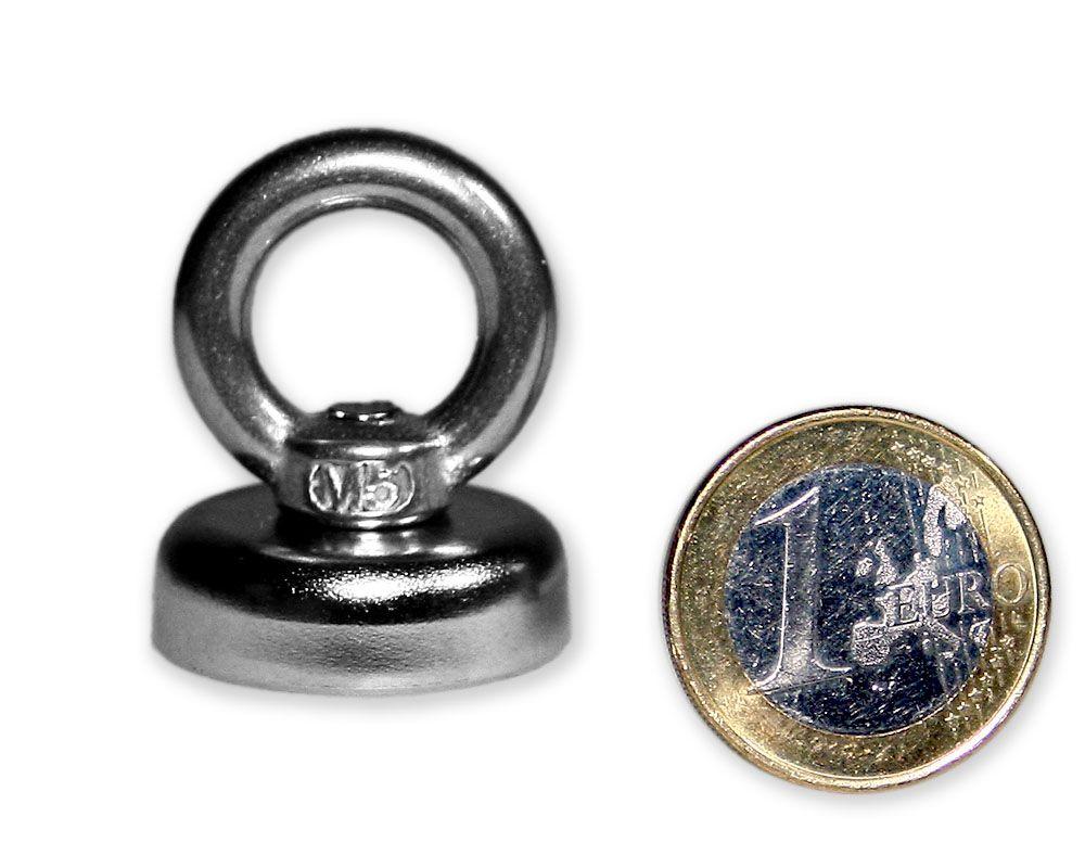 Ösenmagnet Ø 25 mm mit Neodym - verzinkt - hält 14 kg