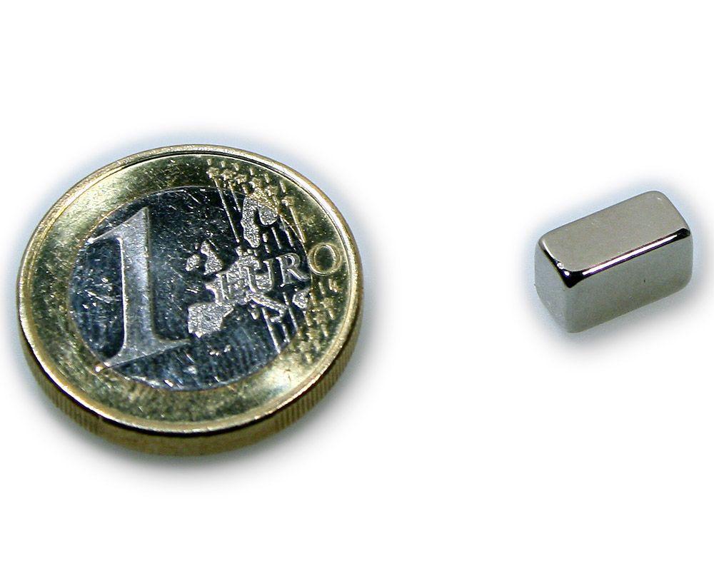 Quadermagnet 10,0 x 5,0 x 5,0 mm Neodym N45 vernickelt - hält 2,2 kg