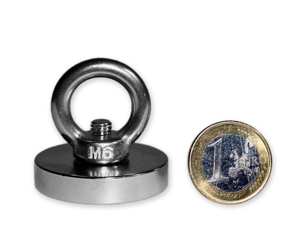 Ösenmagnet Ø 36 mm mit Neodym - verzinkt - hält 41 kg