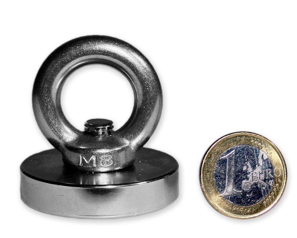 Ösenmagnet Ø 42 mm mit Neodym - verzinkt - hält 68 kg