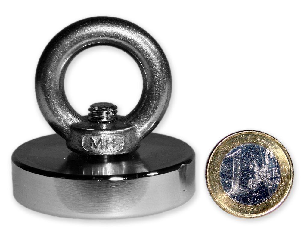 Ösenmagnet Ø 48 mm mit Neodym - verzinkt - hält 83 kg