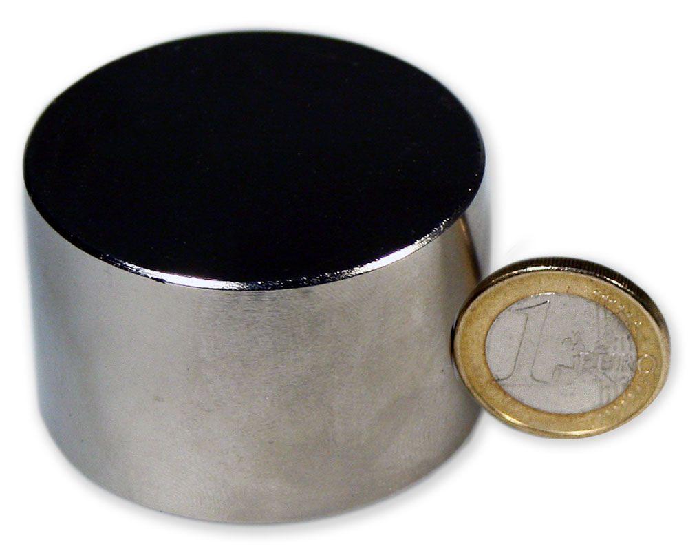 Scheibenmagnet Ø 50,0 x 40,0 mm Neodym N52 vernickelt - hält 200 kg