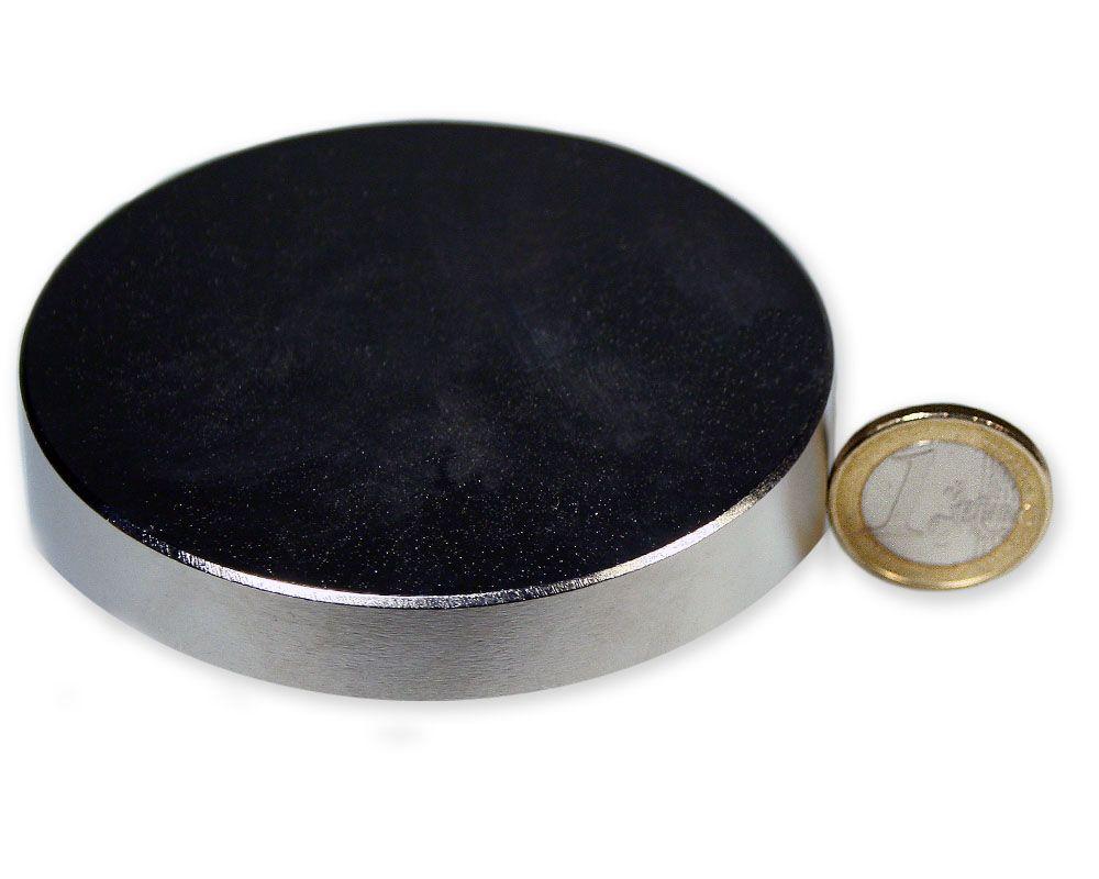 Scheibenmagnet Ø 80,0 x 10,0 mm Neodym N52 vernickelt - hält 120 kg