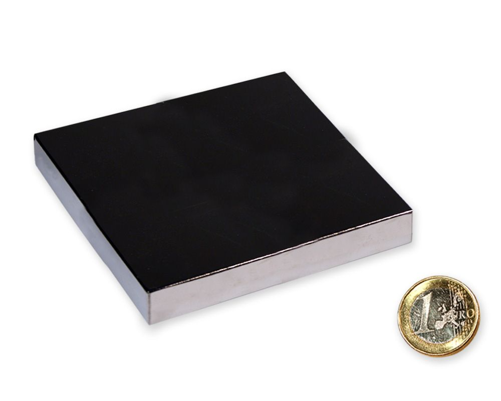 Quadermagnet 80,0 x 80,0 x 10,0 mm Neodym N52 vernickelt - hält 180 kg