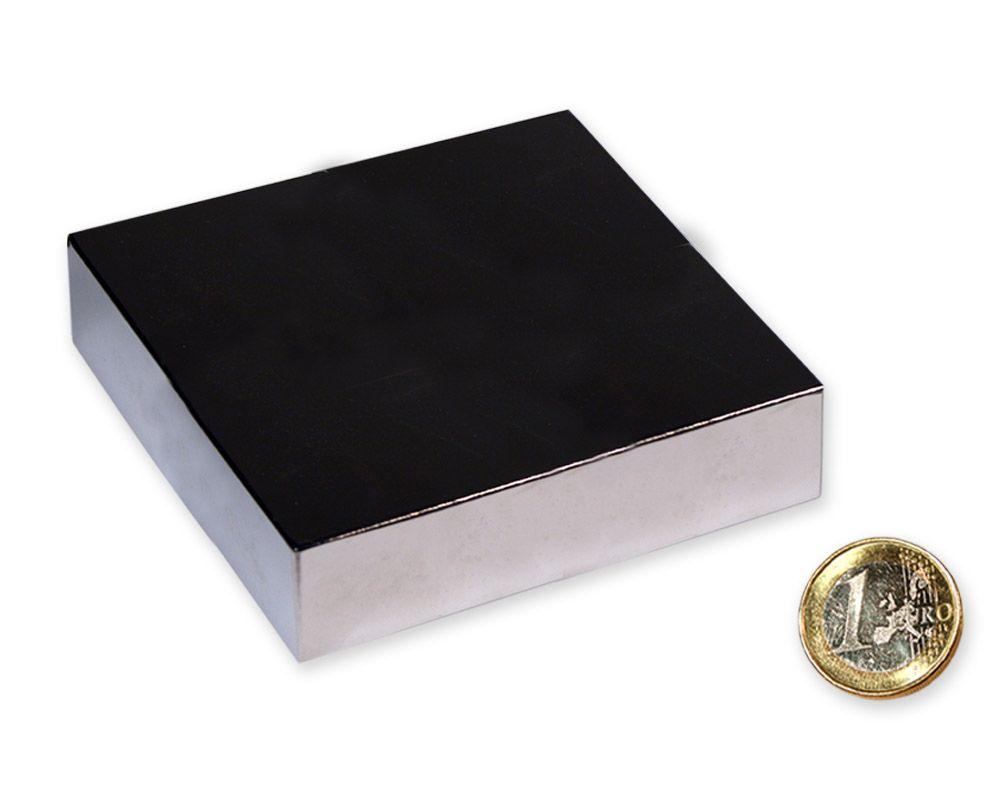 Quadermagnet 80,0 x 80,0 x 20,0 mm Neodym N52 vernickelt - hält 350 kg