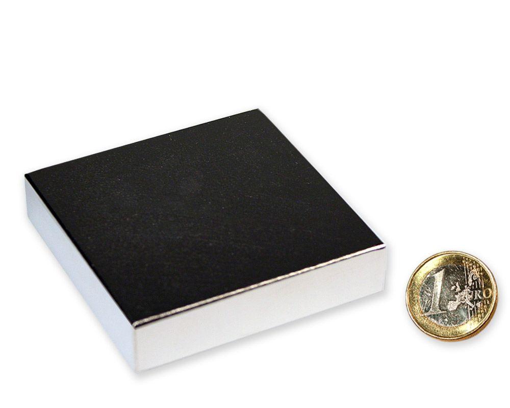 Quadermagnet 70,0 x 70,0 x 10,0 mm Neodym N52 vernickelt - hält 110 kg