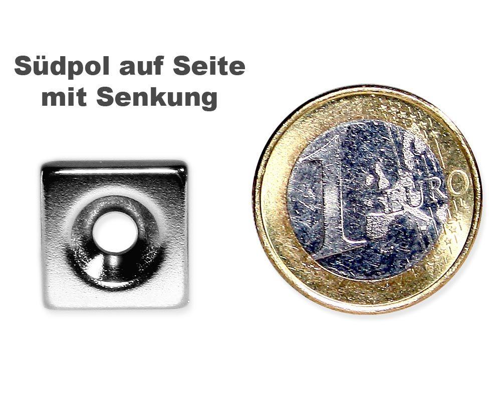 Quadermagnet 15,0 x 15,0 x 4,0 mm Neodym N35 vernickelt - 4,5 mm Senkloch Süd