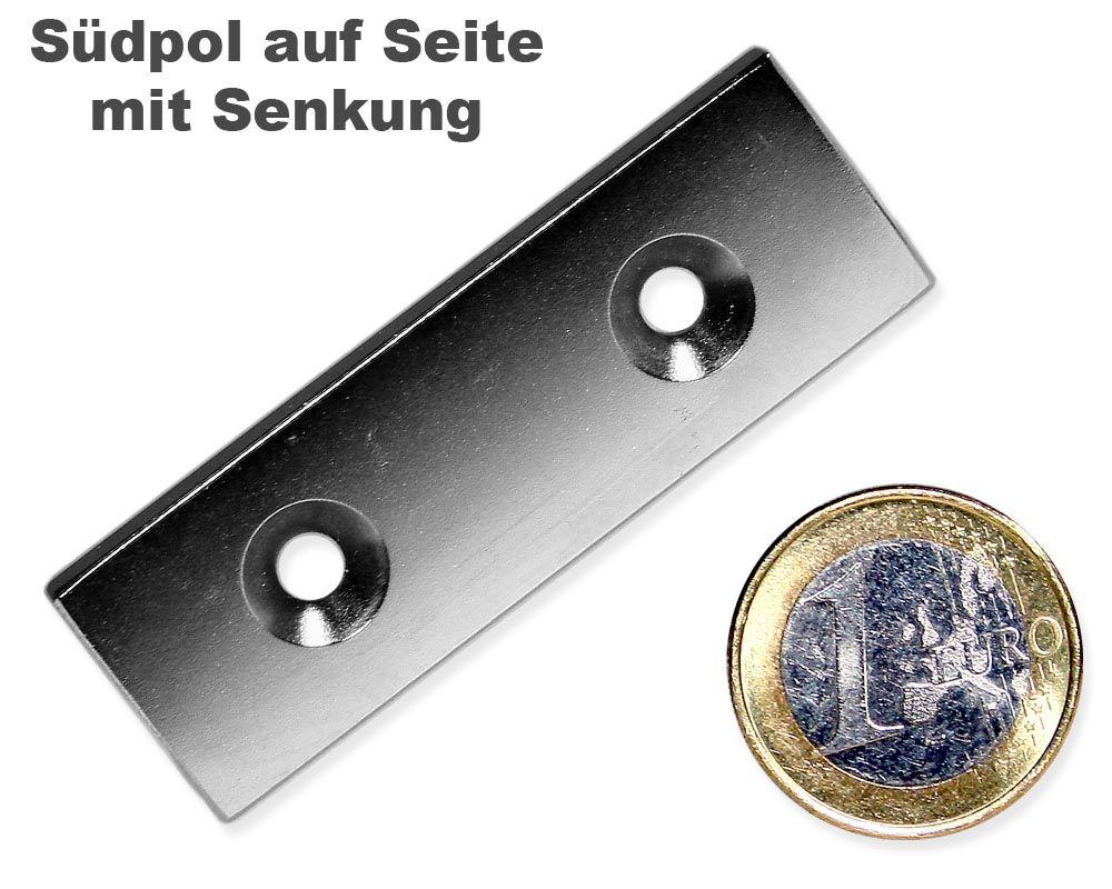 Quadermagnet 60,0 x 20,0 x 4,0 mm Neodym N35 vernickelt - 2 x 4,5 mm Senkl. Süd