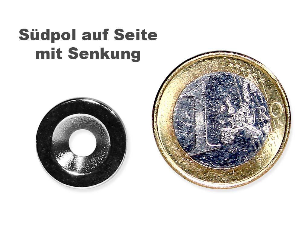 Scheibenmagnet Ø 15,0 mm x 3,0 mm Neodym N35 vernickelt - 4,5 mm Senkl. Süd