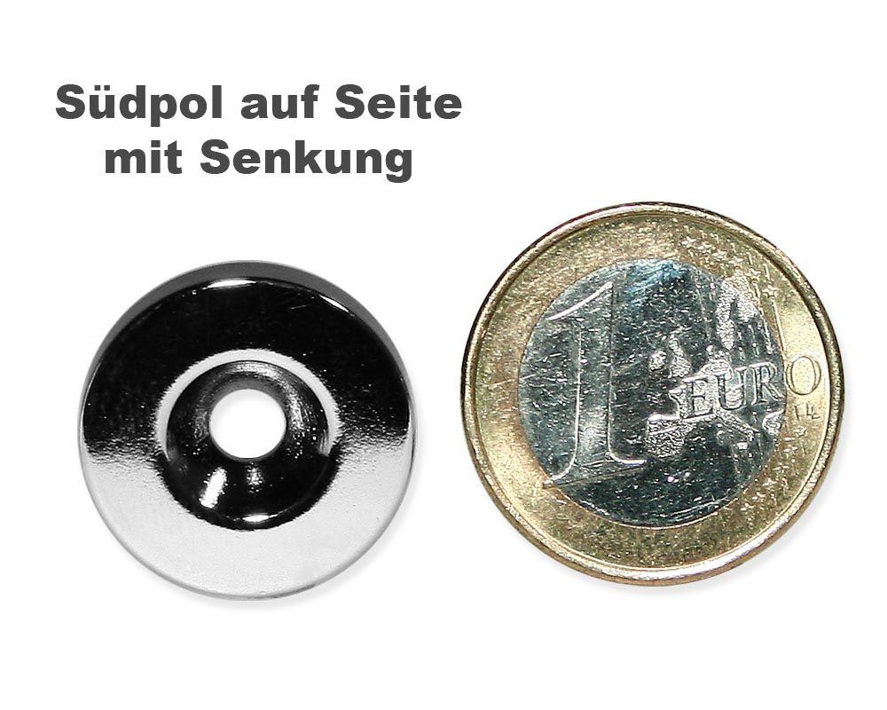 Scheibenmagnet Ø 20,0 mm x 4,0 mm Neodym N35 vernickelt - 4,5 mm Senkl. Süd