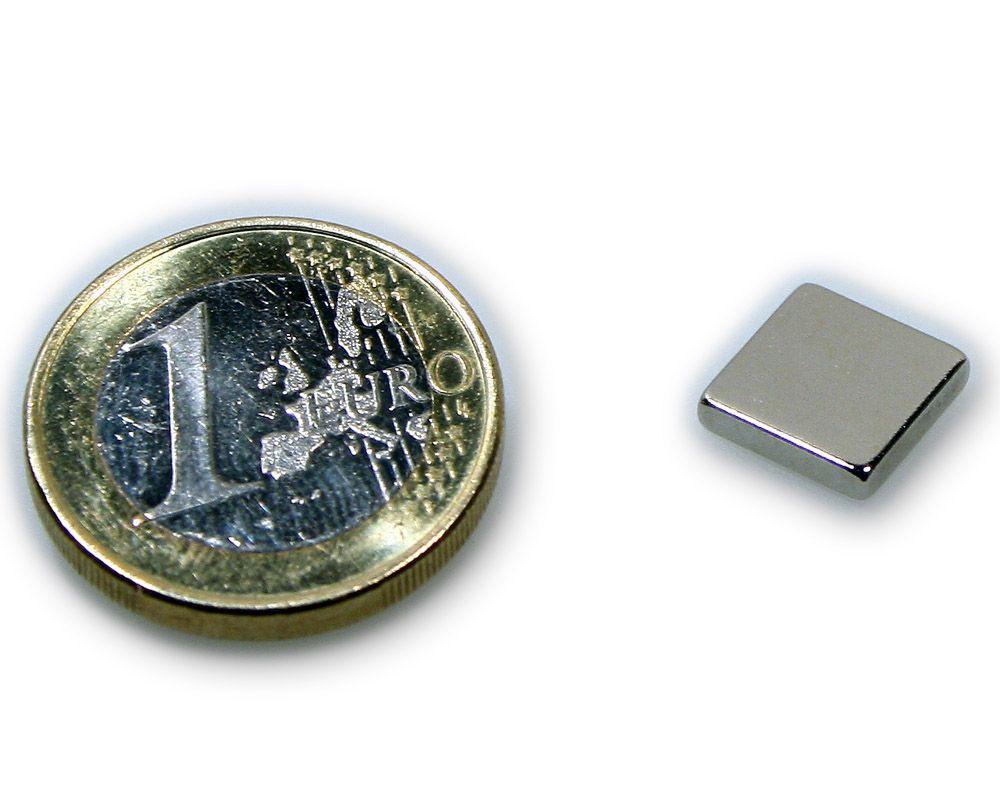 Quadermagnet 10,0 x 10,0 x 2,0 mm Neodym N45 vernickelt - hält 1,2 kg