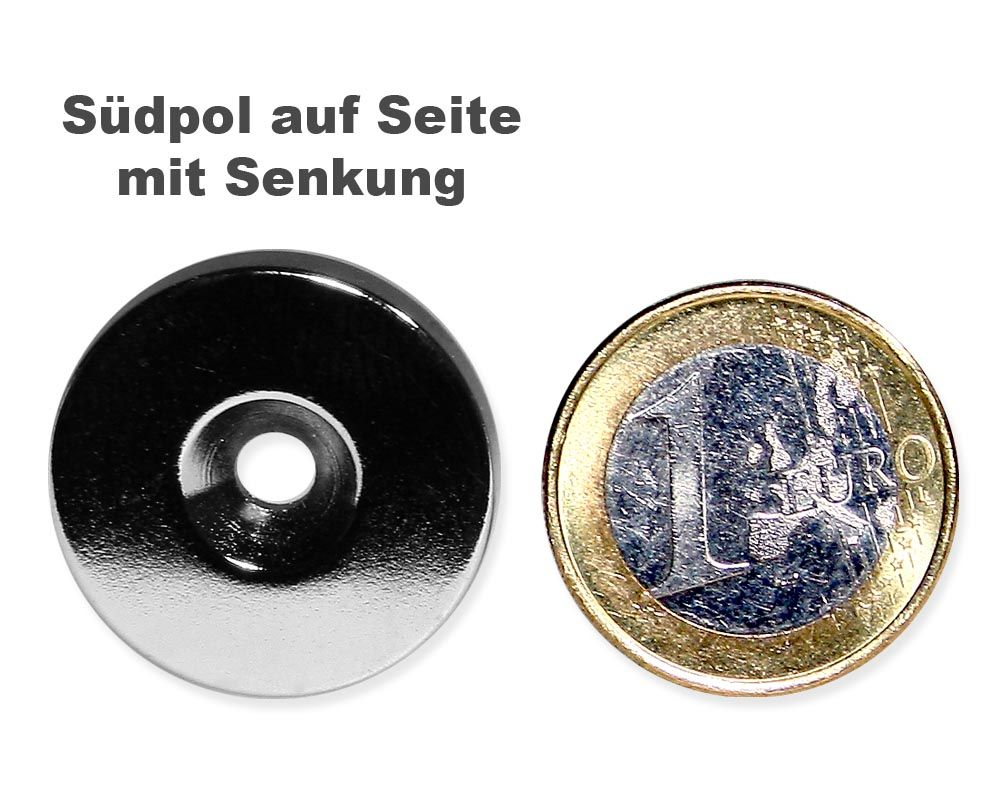 Scheibenmagnet Ø 25,0 mm x 4,0 mm Neodym N35 vernickelt - 4,5 mm Senkl. Süd