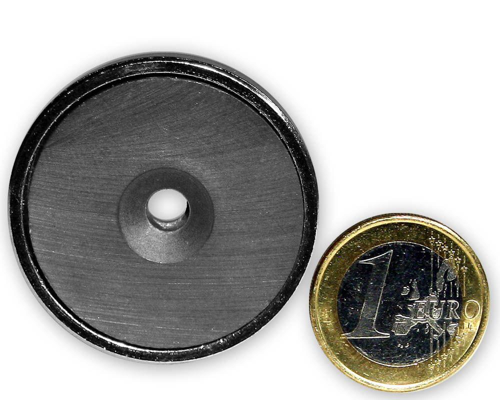Ferrit Flachgreifer mit Senkung Ø 40,0 x 8,0 mm hält 9,3 kg