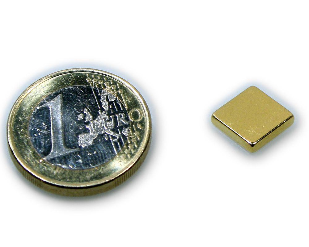 Quadermagnet 10,0 x 10,0 x 2,0 mm Neodym N45 vergoldet - hält 1,2 kg