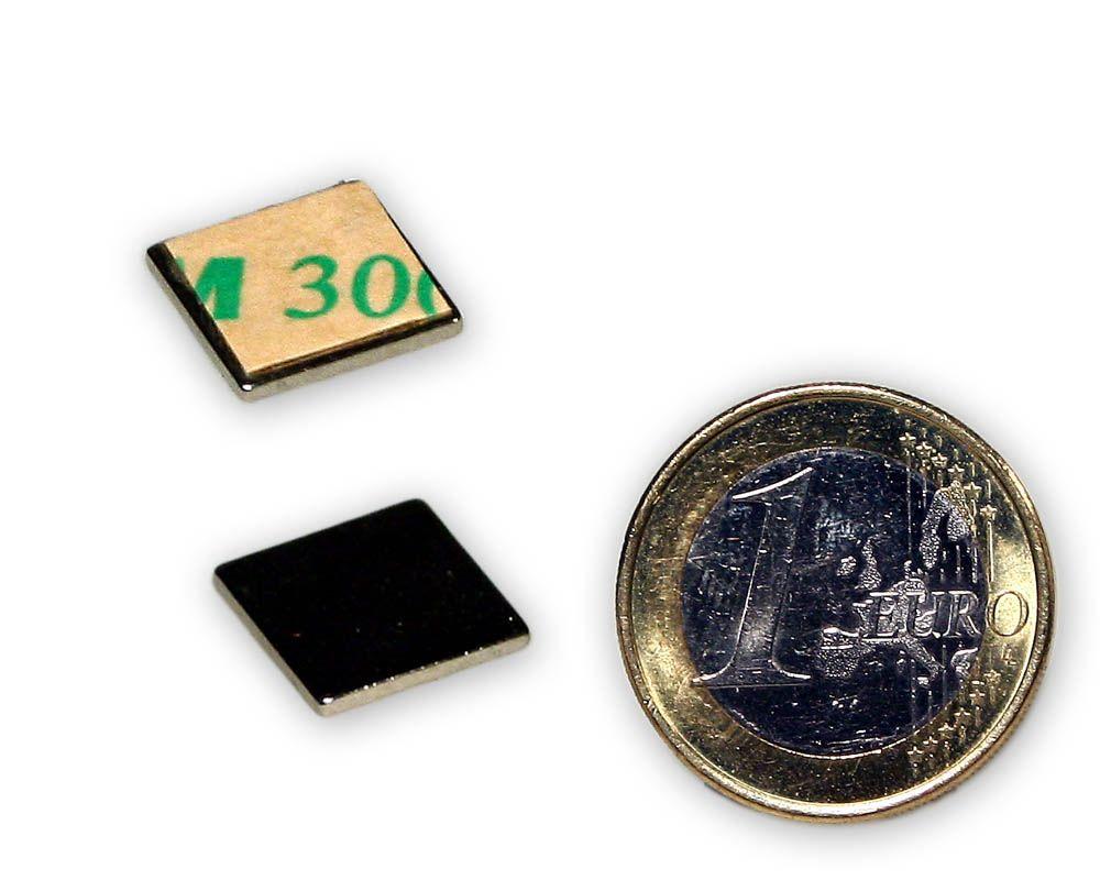 Quadermagnet 10,0 x 10,0 x 1,0 mm Neodym N35 vernickelt - selbstklebend