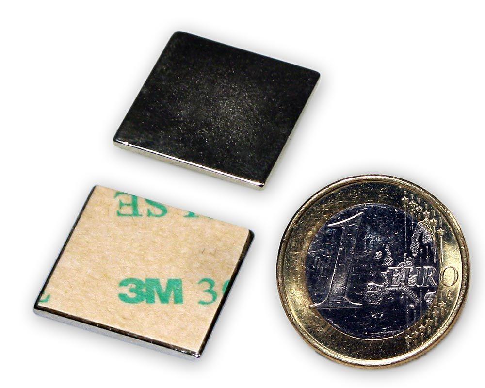 Neodym Quadermagnet 40,0 x 20,0 x 1,0 mm N45 Nickel selbstklebend