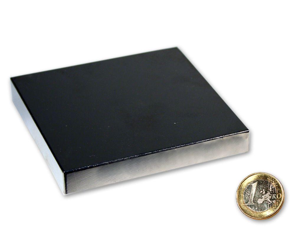Quadermagnet 90,0 x 90,0 x 10,0 mm Neodym N52 vernickelt - hält 200 kg