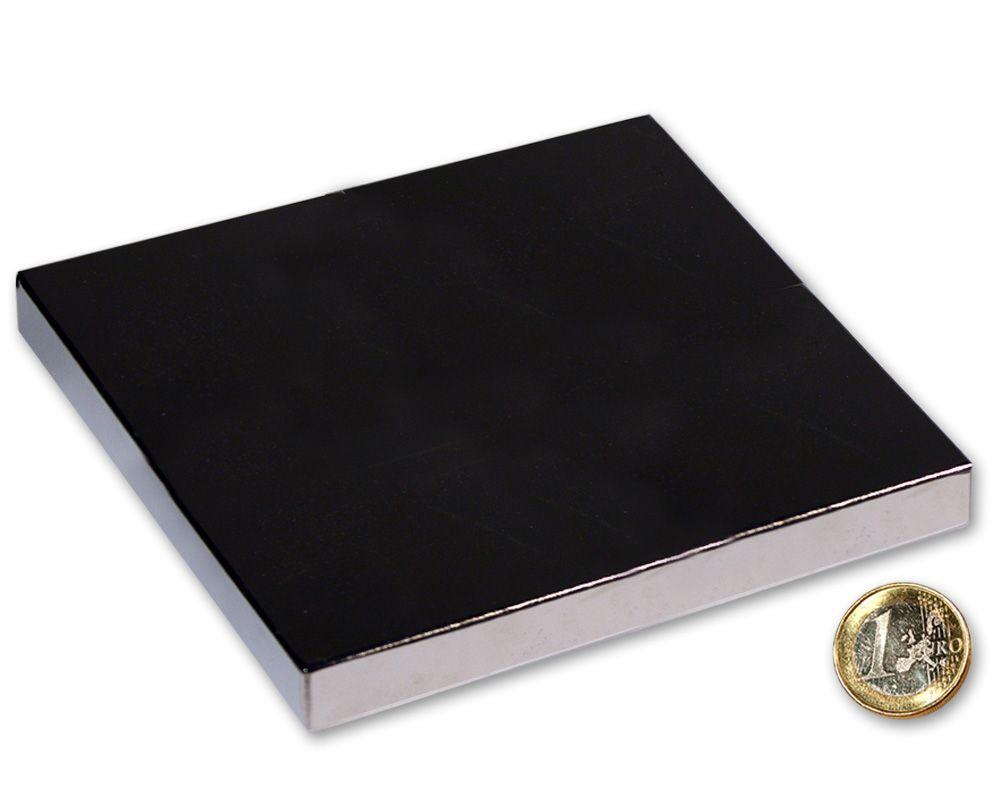 Quadermagnet 120,0 x 120,0 x 10,0 mm Neodym N52 vernickelt - hält 390 kg
