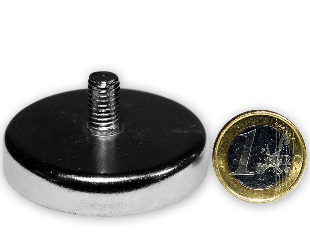 Ferrit Flachgreifer mit Gewinde Ø 50,0 x 10,0 mm M8 hält 23 kg