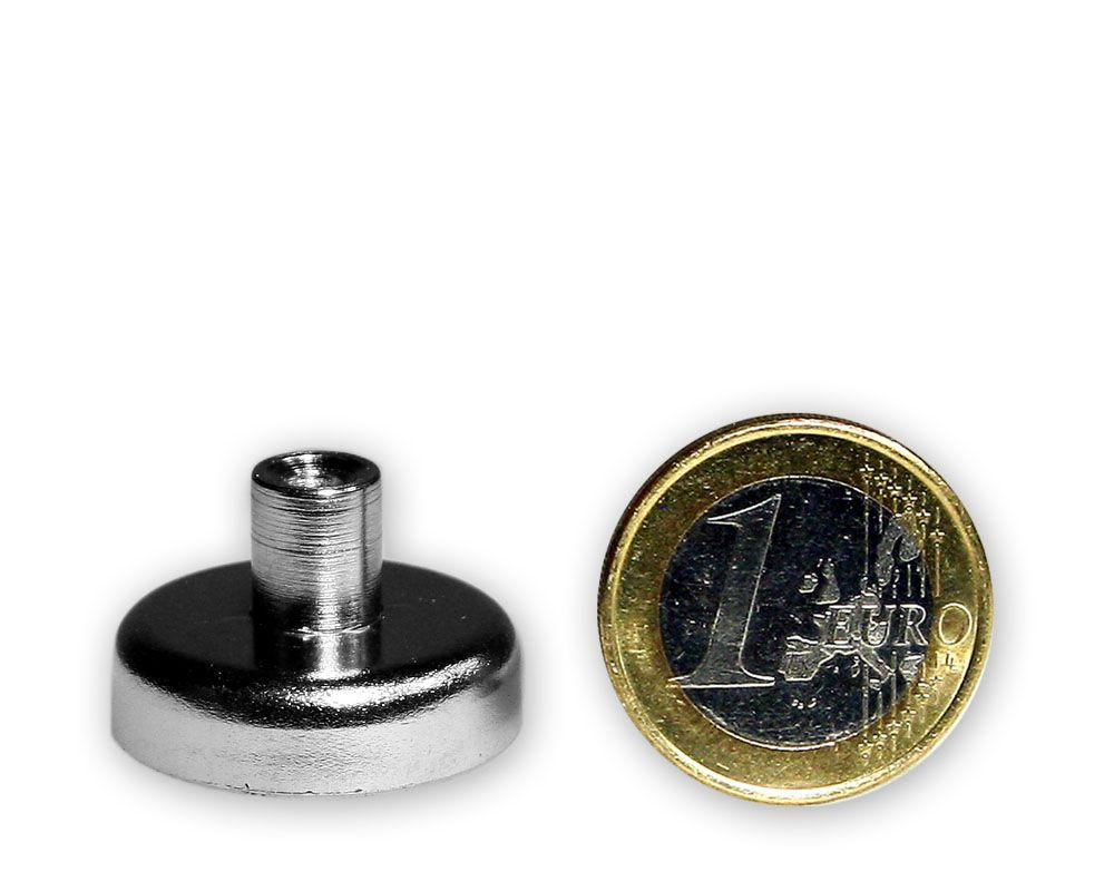 Ferrit Flachgreifer mit Buchse Ø 25,0 x 8,0 mm M4 hält 4,4 kg