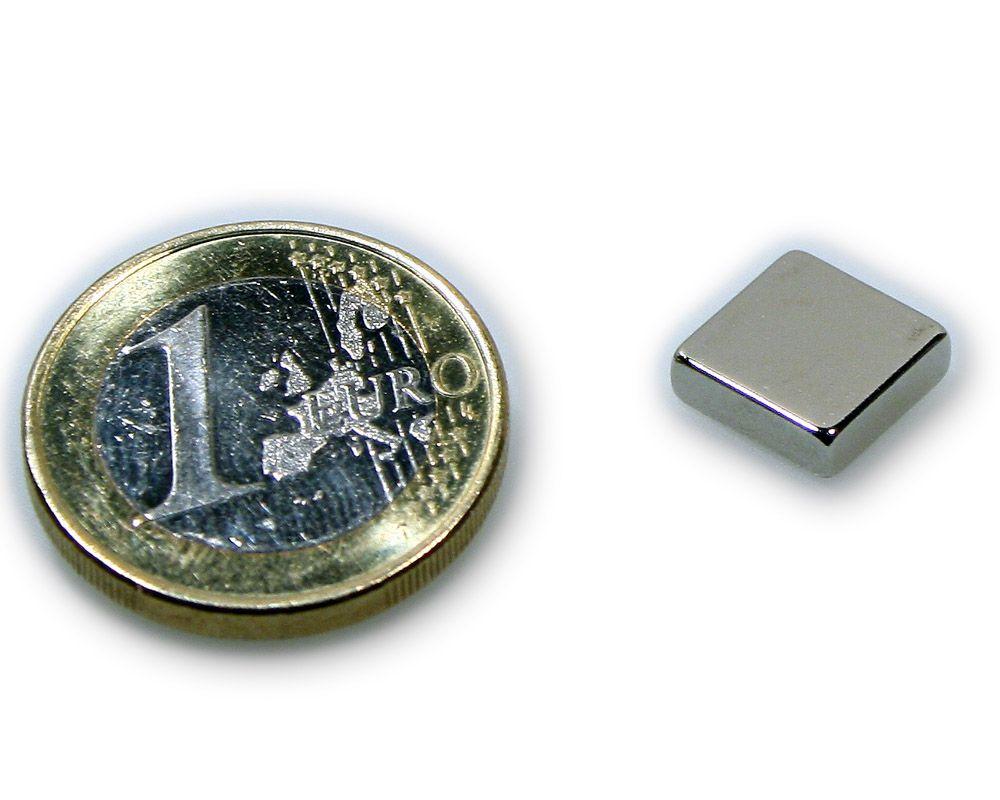 Quadermagnet 10,0 x 10,0 x 3,0 mm Neodym N45 vernickelt - hält 2,0 kg